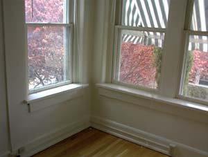 View from living room overlooking courtyard, April, 2000